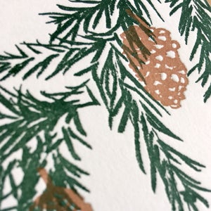 Image of Fir Cones -  Letterpress Christmas Card