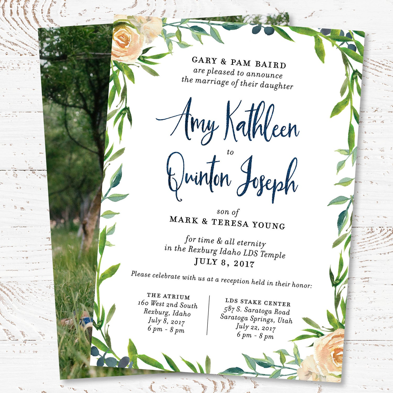 Image of Greenery & Cream Roses Wedding Invitation