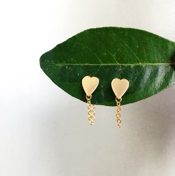 Image of Heart Chain Earrings - Gold Plated