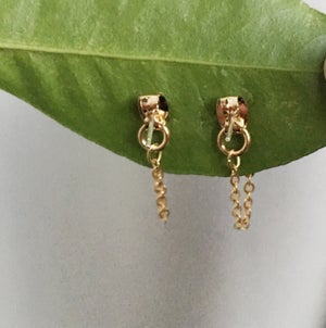Image of New: Heart Chain Earrings - Gold Plated