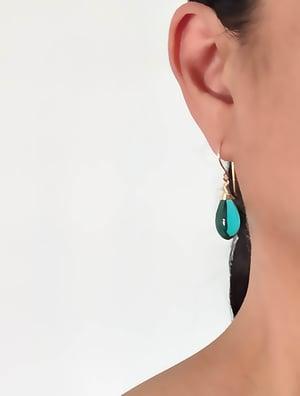 Image of Teal glass earrings medium v2
