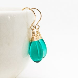 Image of Teal glass earrings