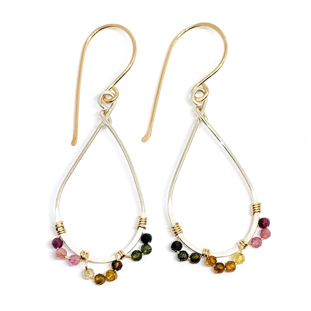 Image of Tourmaline earrings mixed metal