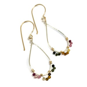 Image of Tourmaline earrings mixed metal