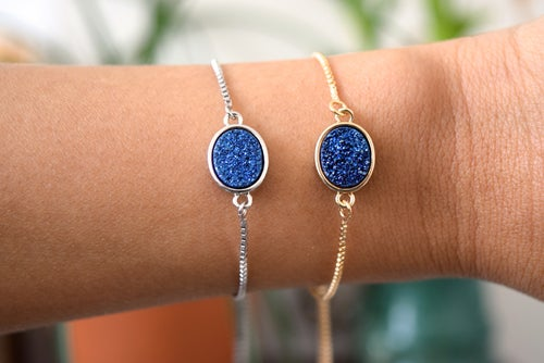 Image of The Blue Druzy Bolo bracelet