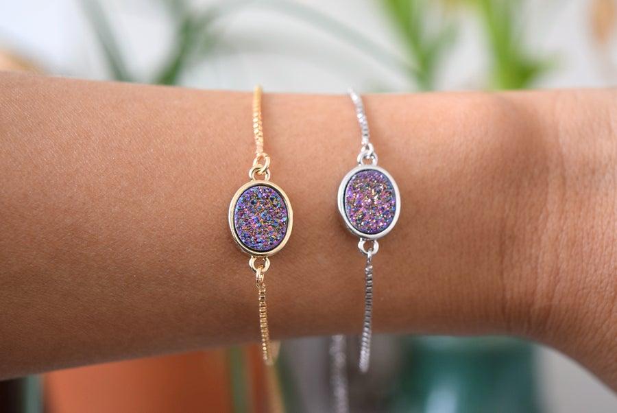 Image of The Purple Druzy Bolo bracelet