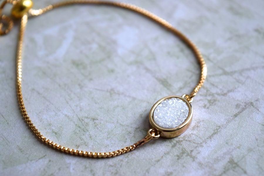 Image of White Druzy Bolo bracelet