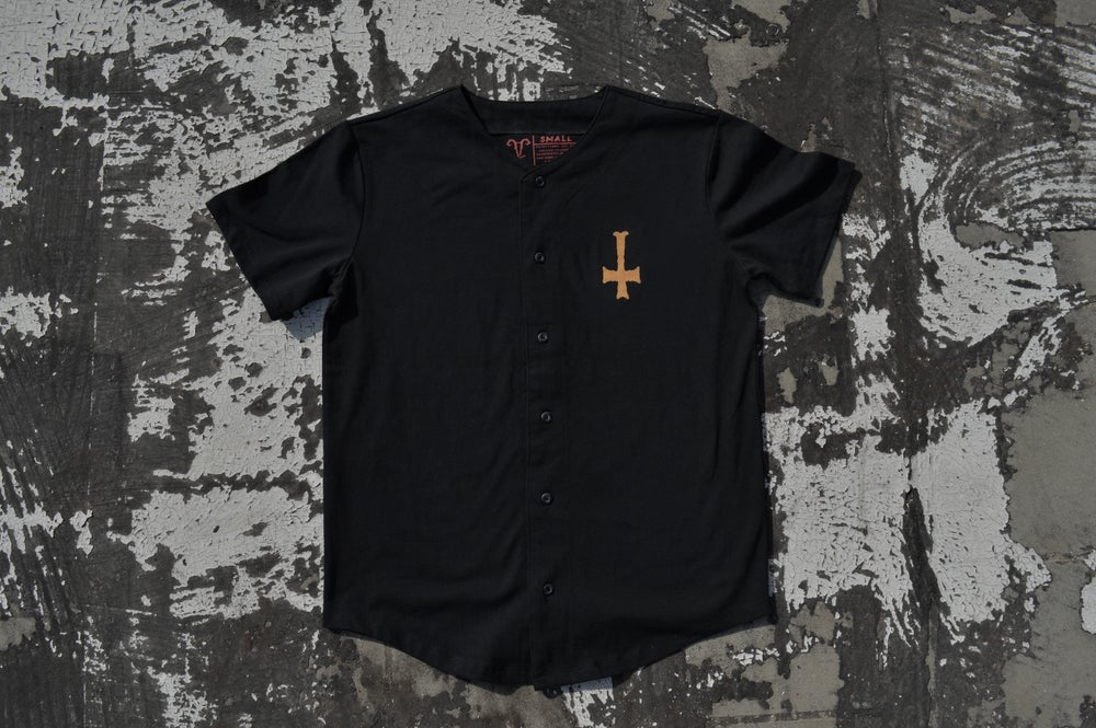 "Image of ""We All Burn The Same"" Black Thick Knit Baseball Jersey"