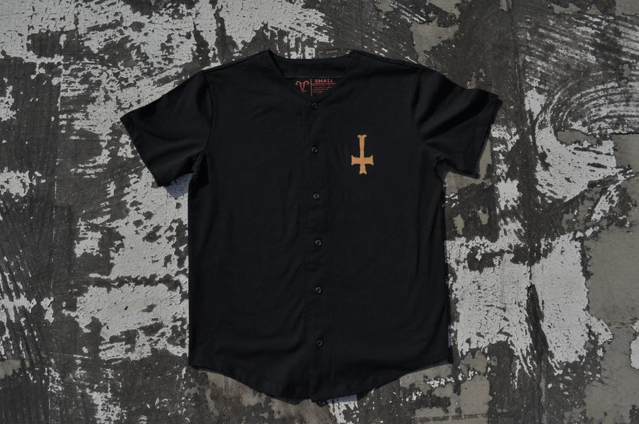 "Image of ""We All Rot The Same"" Black Thick Knit Baseball Jersey"