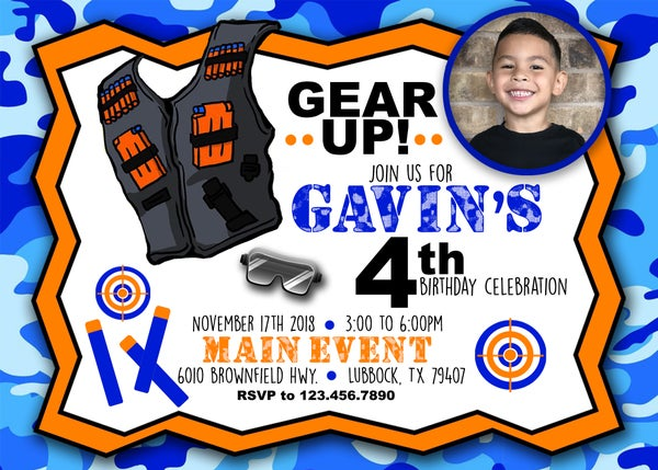 Image of Nerf Birthday invitation