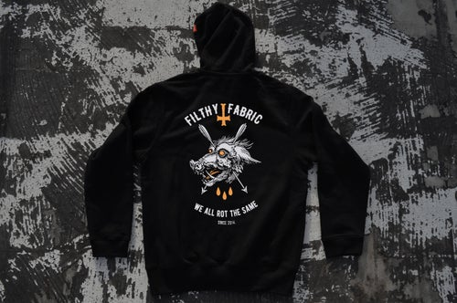 "Image of ""We All Rot The Same"" Black ZipUp Hoodie / White & Orange Print"