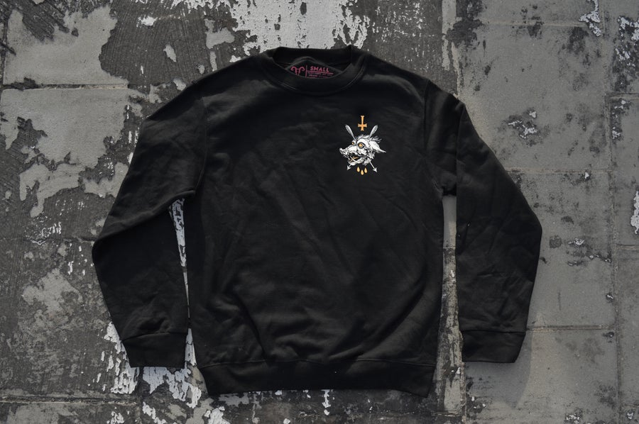 "Image of ""We All Rot The Same"" Black Crewneck Sweatshirt / White & Orange Print"
