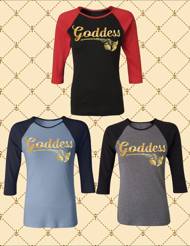 Image of GODDESS RAGLAN SLEEVE 3/4 SLEEVE TOP