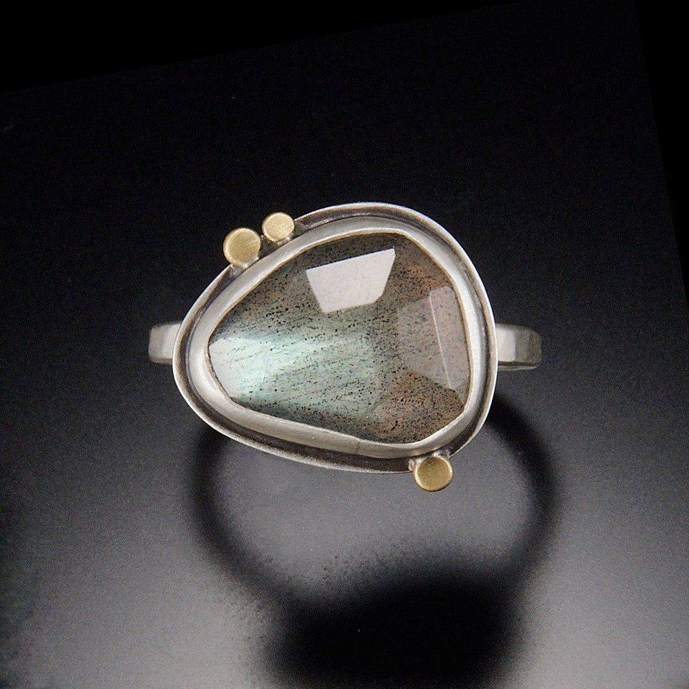 Image of Labradorite Ring with Three Gold Dots