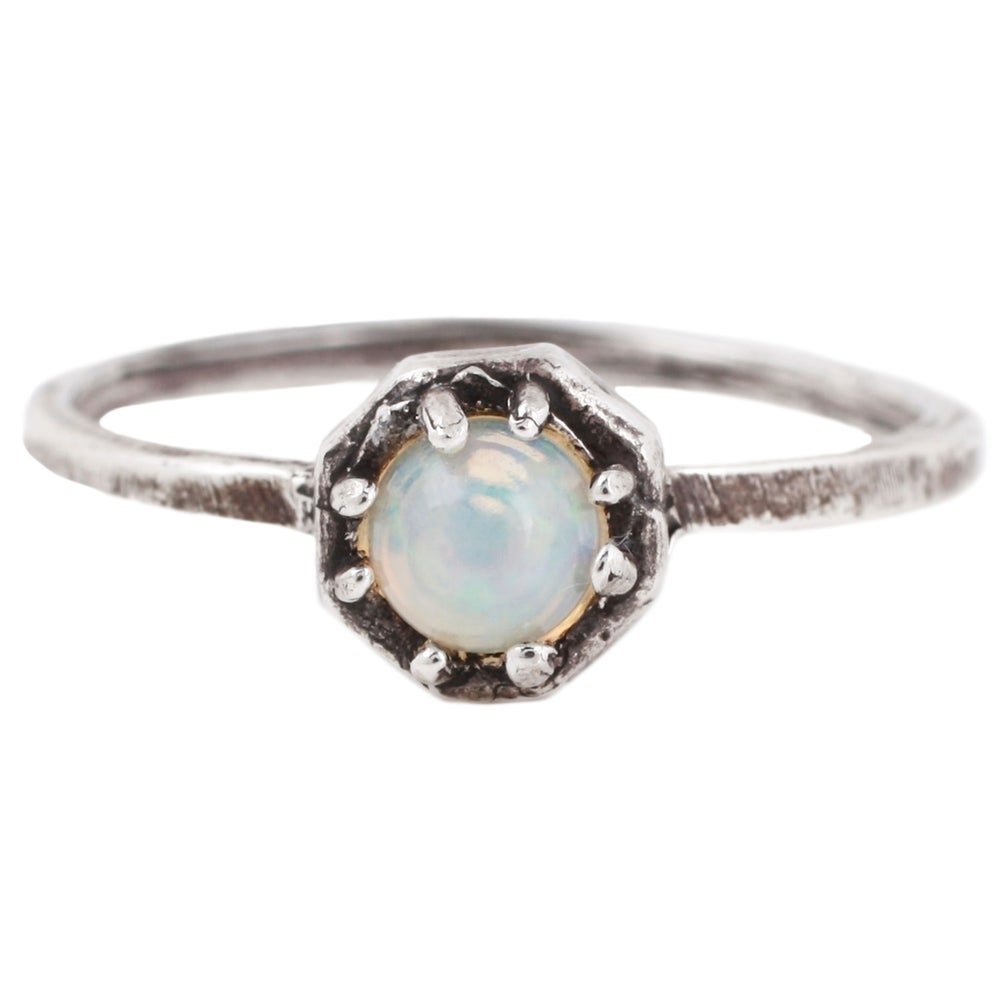 Image of Lauren Wolf Silver Octagon Ring W/ Opal