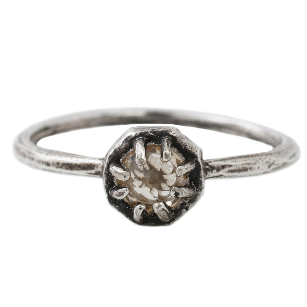 Image of Lauren Wolf Silver Octagon Ring w/ Champagne Quartz