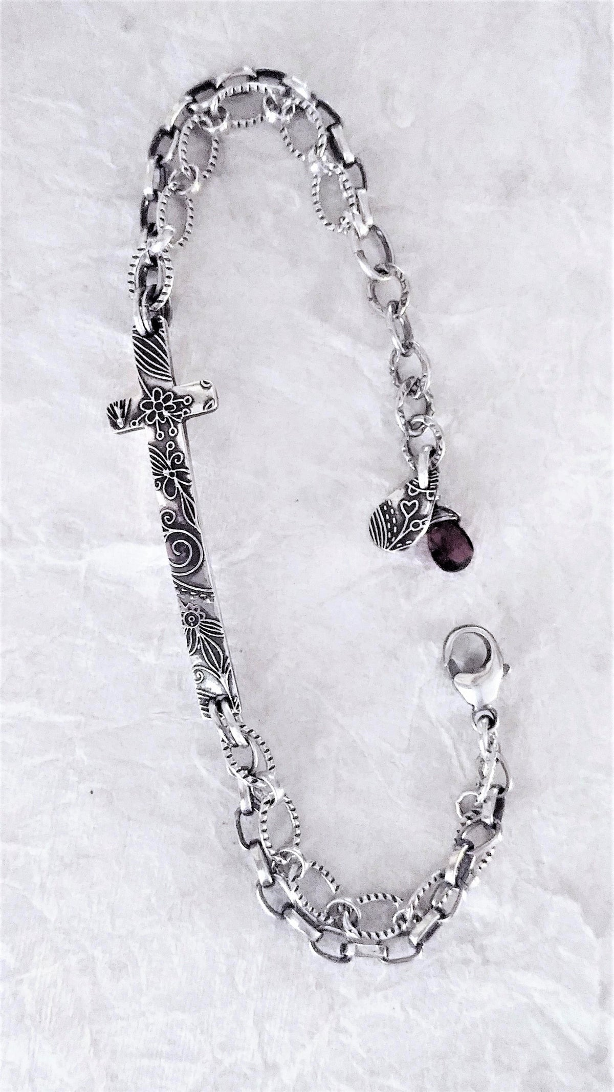 Image of Fineline Tapestry Cross Bracelet