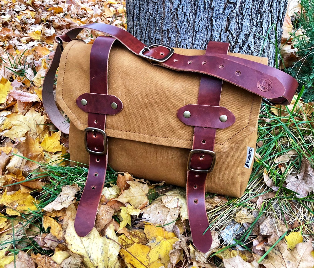 "Image of ""Geo Trekker"" Cotton Duck Canvas and Horween Dublin Satchel/Bag"