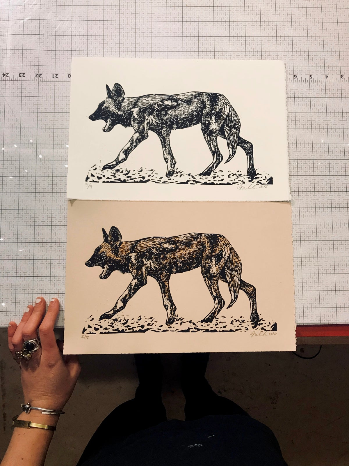 Image of African Wild Dog Woodblock Print