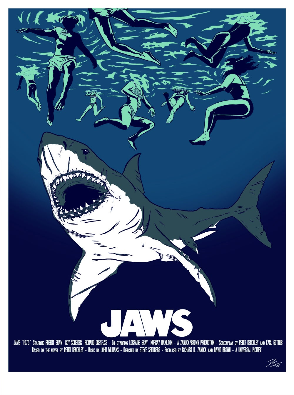 JAWS TRIBUTE MOVIE LIMITED SCREENPRINT