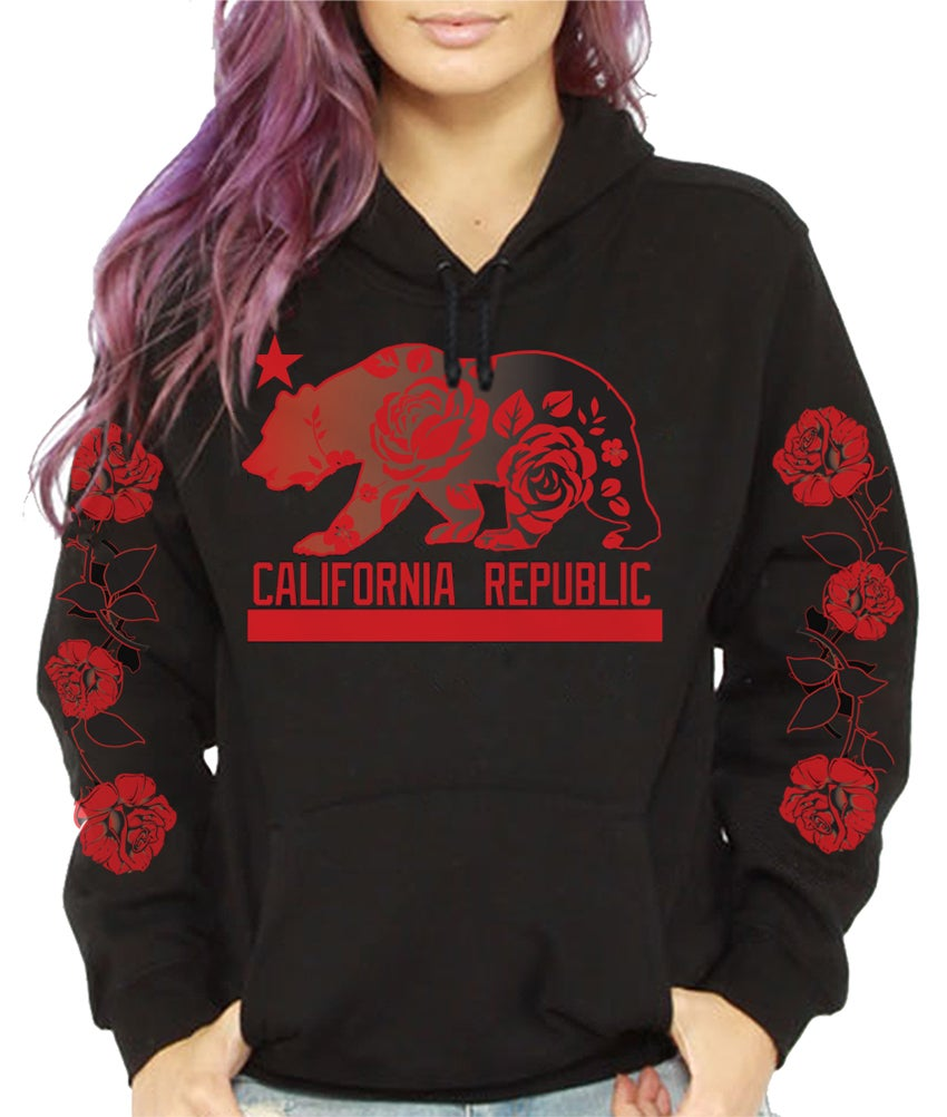 65ff33627 California Republic HOODIE With roses on Sleeve | Californiarepublicshop