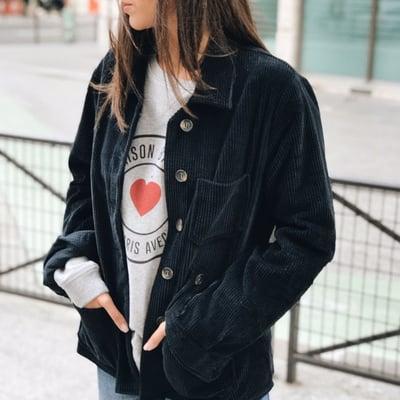 Veste Victoria velours marine 155€ -50% - Maison Brunet Paris