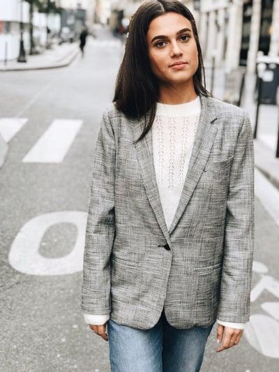 Veste Inès carreaux Prince de Galles 160€  - 50% - Maison Brunet Paris