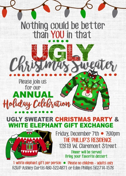 Image of Ugly Sweater Holiday party Invitation