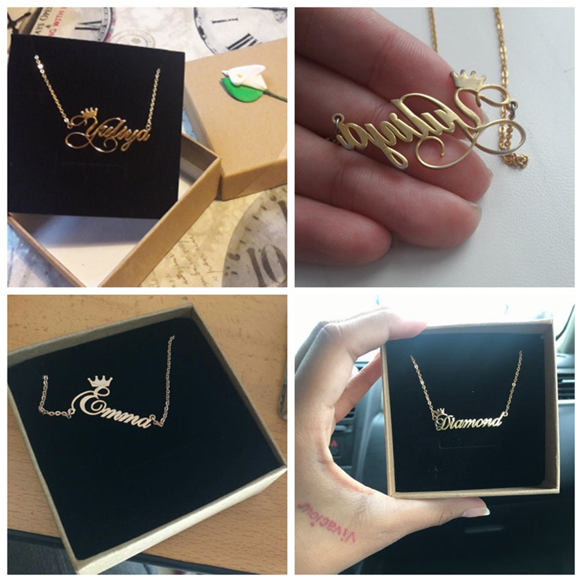 Crown Necklace Handmade Customized Cursive Font Nameplate Stainless Steel  Chain