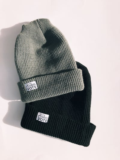 Image of babes vote cuffed beanie