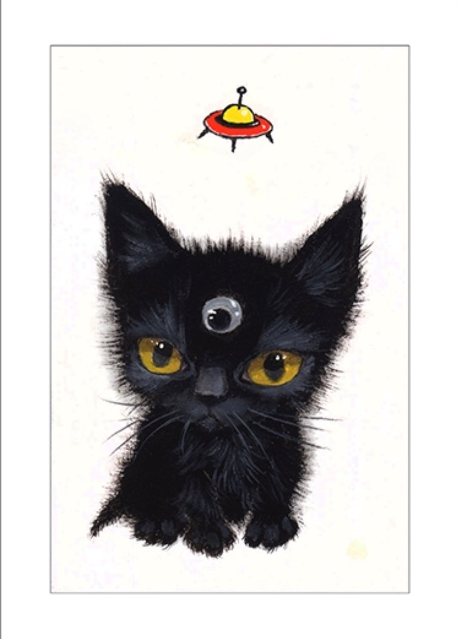 """Image of """"Googly Eyed Alien"""" archival ACEO print"""