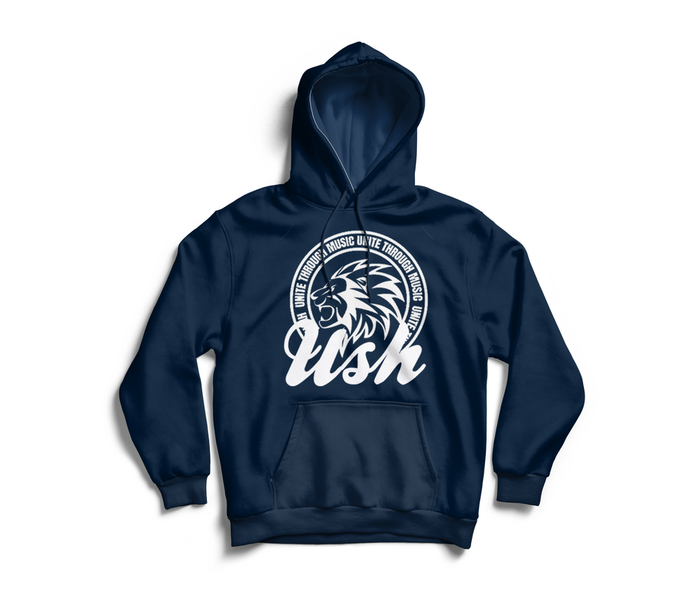 "Image of ""USH Lion"" Navy Pull Over Hoodie"