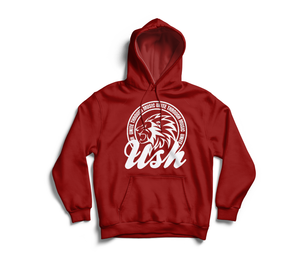 "Image of ""USH Lion"" Red Pull Over Hoodie"