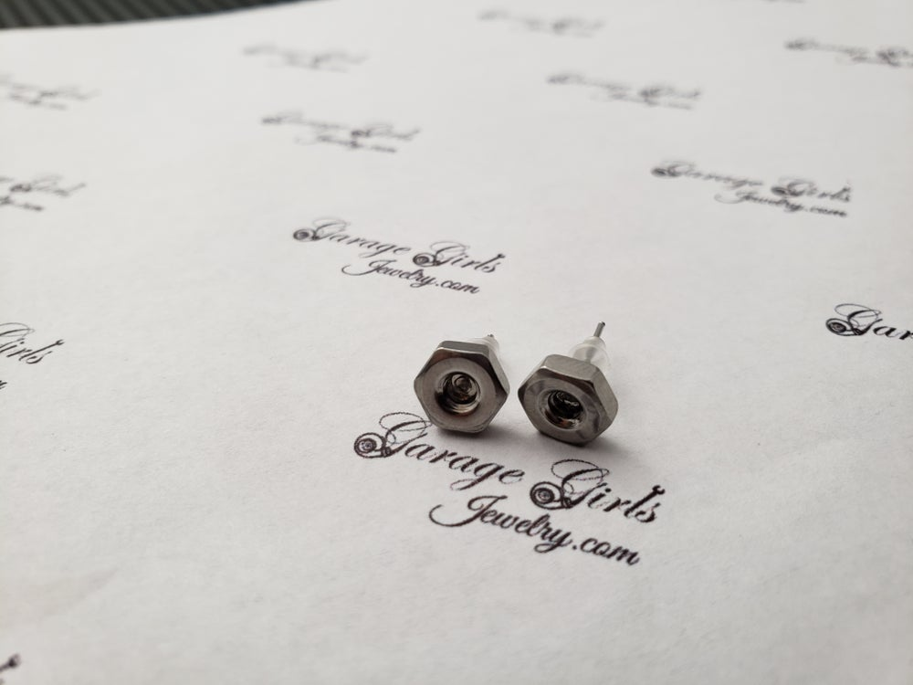 Image of Hex Nut Post Earrings