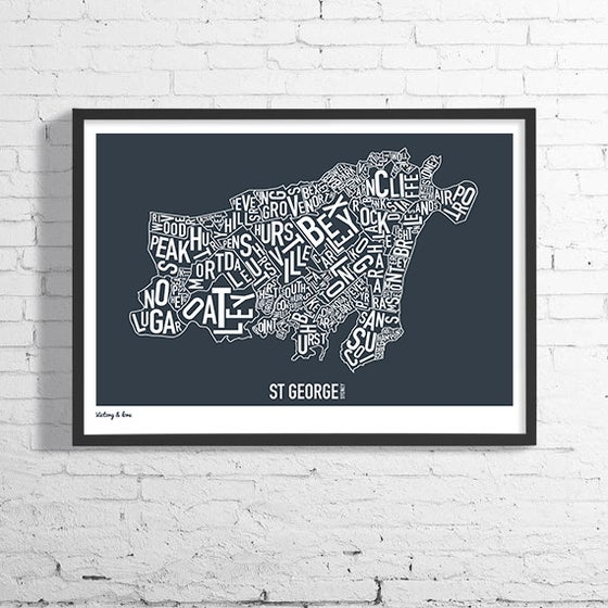 Image of St George Typographic Map - Available in Charcoal or Aqua