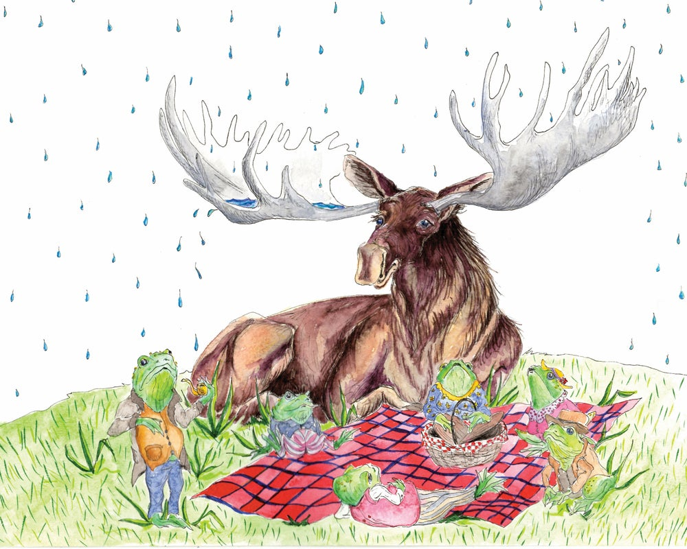 Image of Moose and Frog Rainy Day Picnic Print