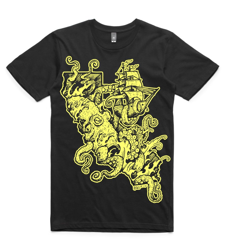 Image of Cali Kraken Yellow on Black Men's Tee