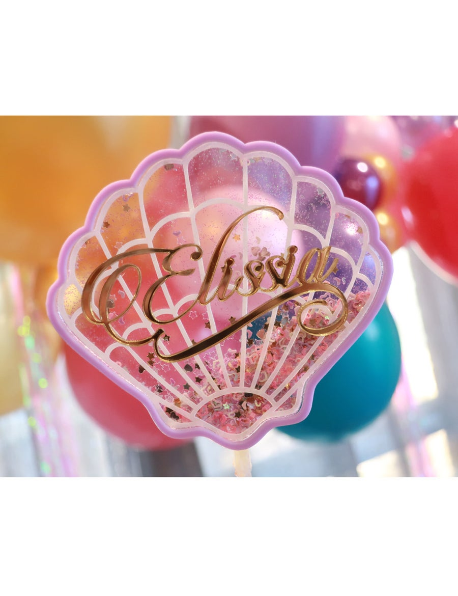 Image of Personalised Sea Shell Fillable Cake Topper