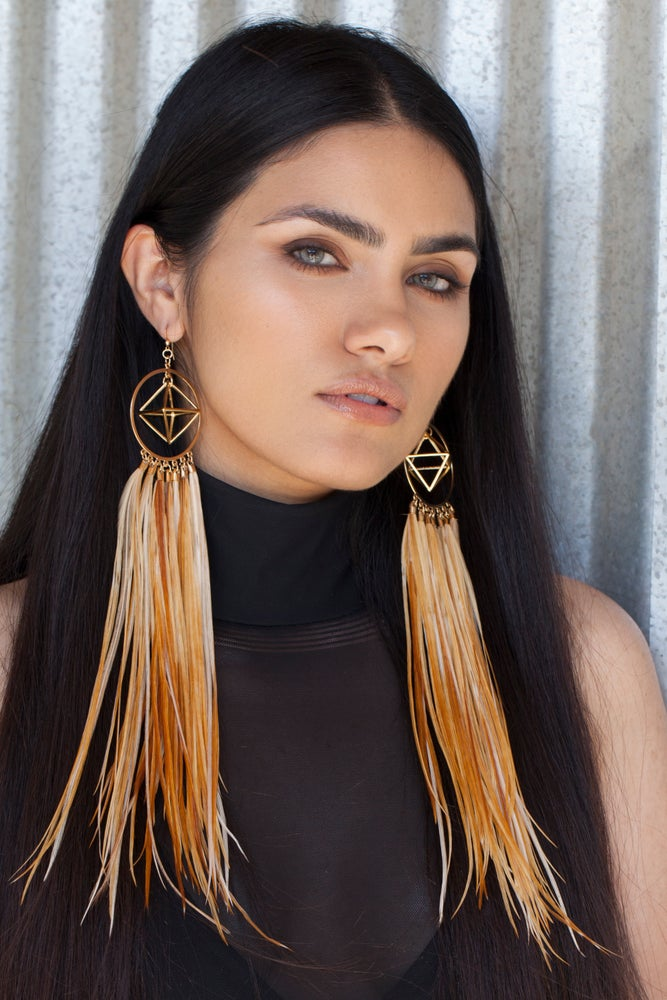 Image of Rooster Feather Hoops