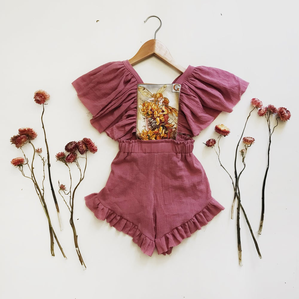 Image of 'Maeve' fairy playsuit in mauve or golden gauze