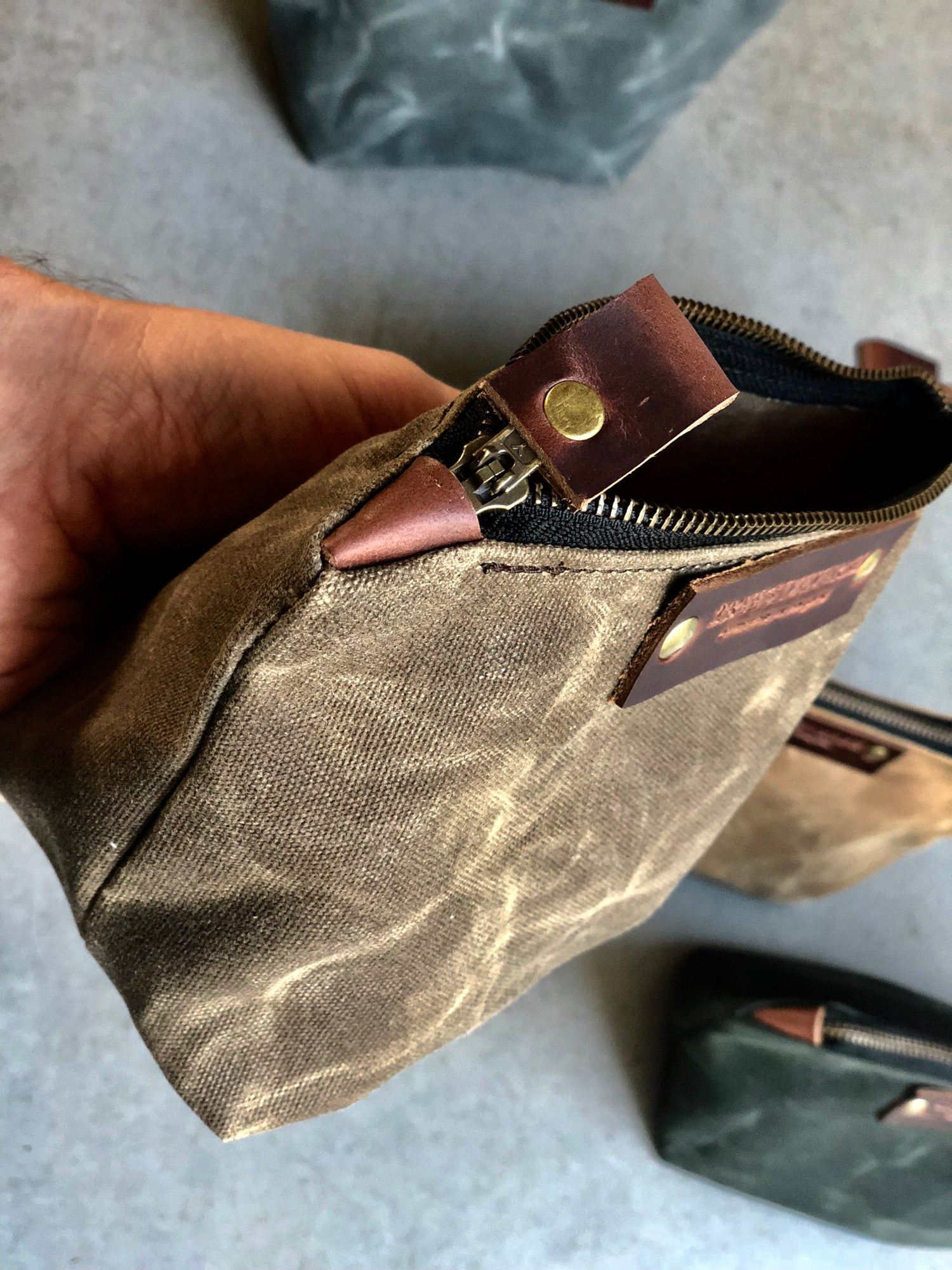 Image of Waxed canvas toiletry bag zipper pouch