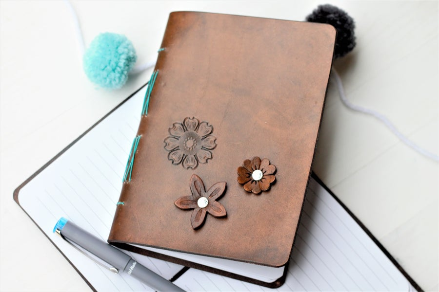 Image of Leather Floral Journal