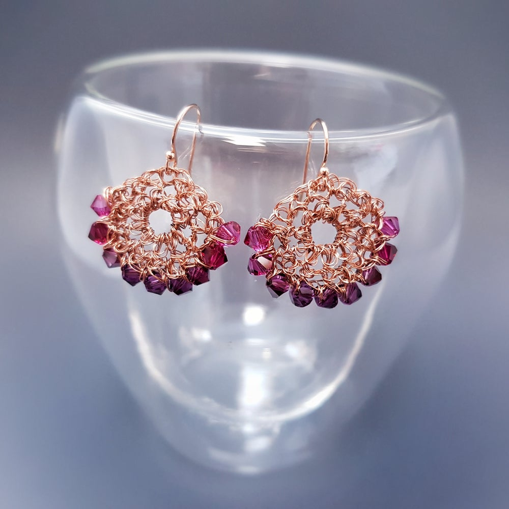 Image of HALF-MOON EARRINGS - Pink Fade