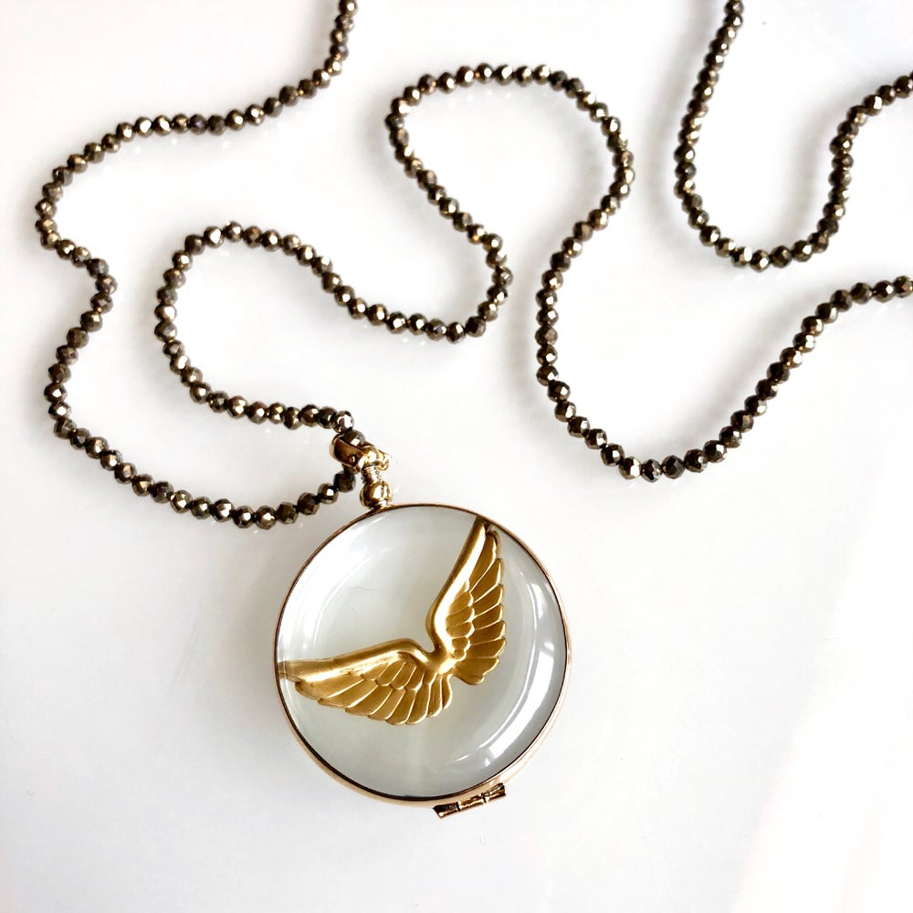 Image of Brass Wing Glass Locket Necklace