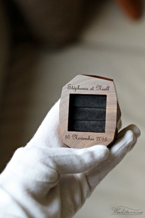 Image of Ring bearer box - faceted wood box for two rings - wedding ring box by Woodstorming