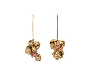 Image of Pink Tourmaline Pod Cluster Earrings
