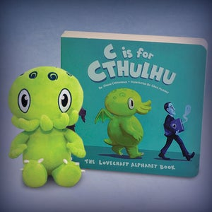 "Image of C is for Cthulhu: SIGNED Mini Green Cthulhu plush and ""C is for Cthulhu"" book set!"