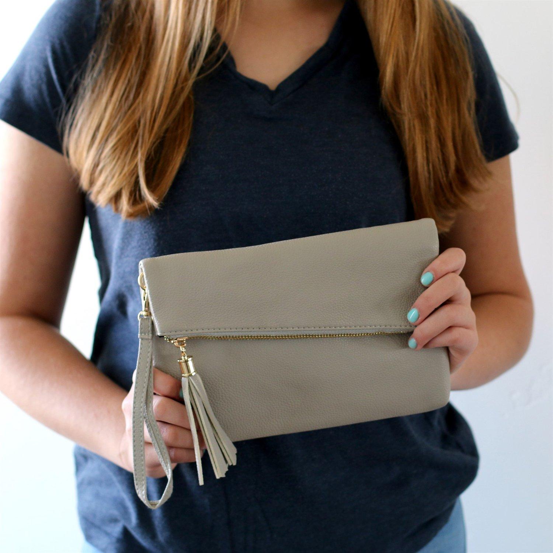 Image of Fold Over Tassel Shoulder Bag