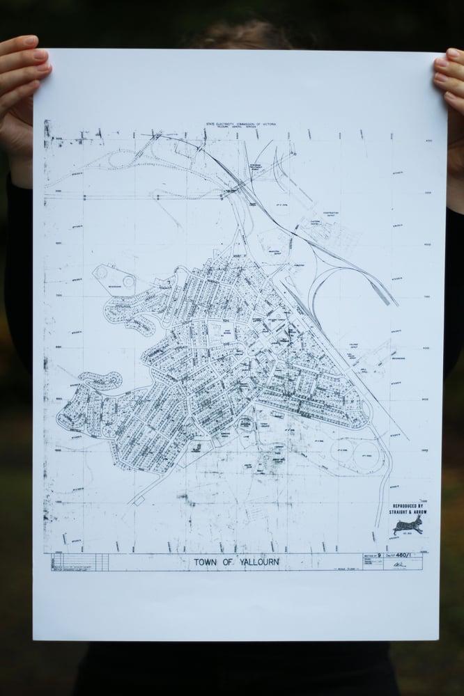 Image of Yallourn Map, 1968 (A2 size, black on white)
