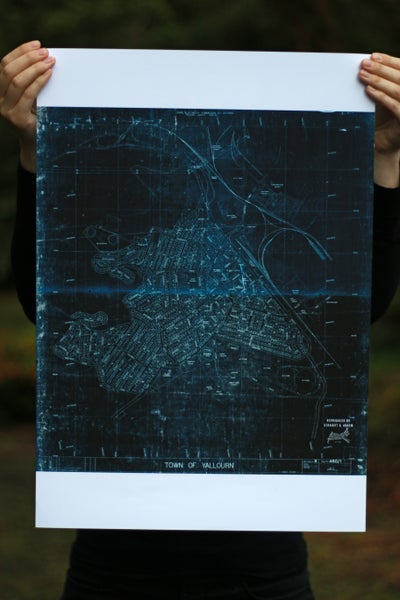 Image of Yallourn Map, 1968 (A2 size, blue on white)